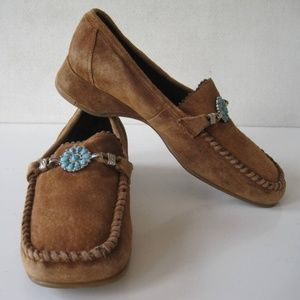 Womens Shoes Moccasins Sz 6 Loafers Suede Low Heel